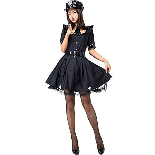 Tjtcs Halloween-Kostüme Polizistin Instructor Kleid Anzug mit Krawatte Rollenspiele Cosplay Kleidung Halloween-Kostüme für Frauen 5pcs / (Professionelle Burlesque Kostüm)