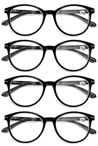KOOSUFA Lesebrille Herren Damen Retro Runde Lesehilfe Sehhilfe Federscharniere Vollrandbrille Anti Müdigkeit Brille 1.0 1.5 2.0 2.5 3.0 3.5 4.0 (4x Schwarz, 2.0)