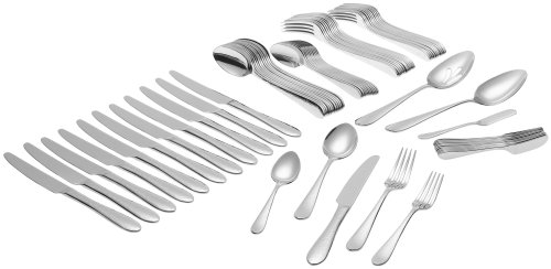 Ginkgo International Starlight 74-Piece Stainless Steel Flatware Set, Service for 12 Plus 2-Piece Hostess Set Ginkgo Starlight