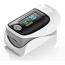 Finger Pulse Oximeter Portable Heart Rate Monitor Spo2 Blood Oxygen Saturation with Four Adjustable OLED Display Directions, Low Battery Indicator, Automatic Power Off, One Button Operation( battery included)