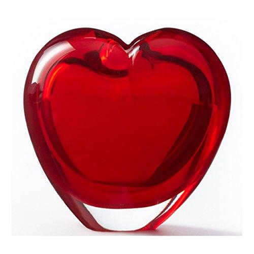 Leonardo Tischvase rot, transparent rot, transparent Jarron Cuore, innen, 100mm, 100mm, 70mm (Glas Rot Vase Herz)