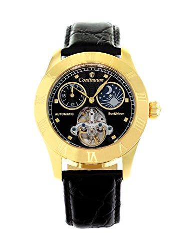 Continuum Herren-Armbanduhr Automatik Analog Leder Schwarz - CO15019