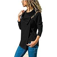TWBB Damen Pullover,Herbst Winter Unregelmäßig O-Ausschnitt Mantel Vintage Slim-Fit Sweatshirt Outwear
