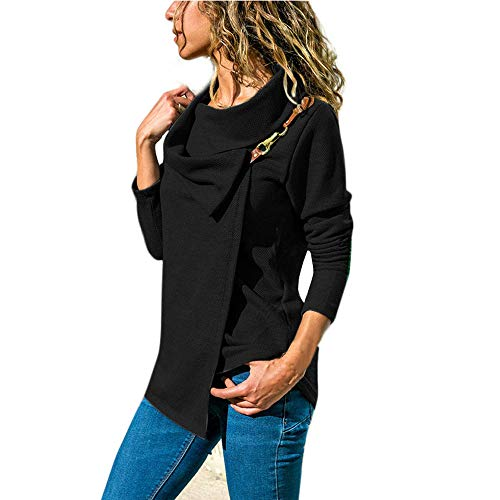 Diagonale Saum Top (Mode Frauen Bogen Kragen Top MYMYG Langarm Diagonal Haken Karte LäSsig Jacke Pullover Sweatshirt (Schwarz,EU:34/CN-S))