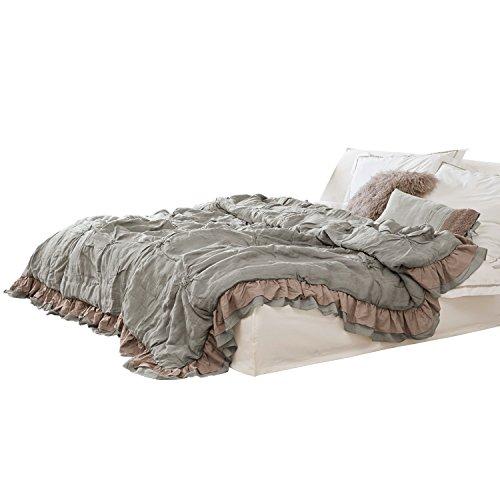 Loberon Quilt Millis, Leinen/Baumwolle, H/B/T ca. 5/240 / 260 cm, grau