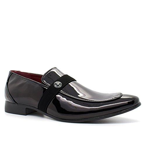 London Footwear ,  Herren Durchgängies Plateau Sandalen mit Keilabsatz schwarzer lack