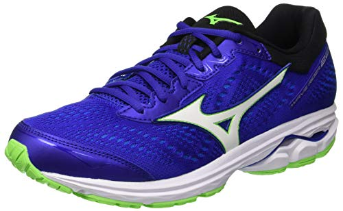 Mizuno Wave Rider 22, Scarpe da Ginnastica Basse Uomo, Blue (Surf The Web/White/Green Gecko 16), 44.5 EU