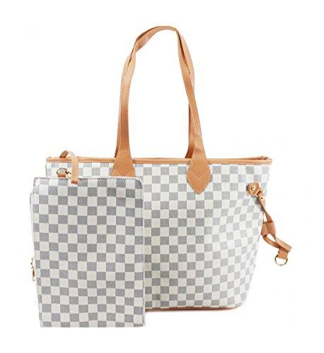 Gucci Schal (LeahWard® Damen 2 IN 1 Schultertasche mit Clutch Bag Designer-Einkaufstaschen (Weiß Tasche mit Kupplung))