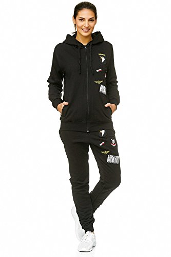 Frauen Anzug-jacke (Damen Jogging-Anzug | USA Patches 685 | Trainings-Anzug aus 100% Baumwolle | Trainings-Jacke mit Reißverschluss | Jogging-Hose mit Tunnelzug und Zugband | Sport-Anzug mit Rippstrickbündchen | S-3XL (M-fällt groß aus, Schwarz))