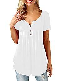 52a470c5b Camisas Tallas Grandes Mujer Verano Abotonar Camisetas Tops Cuello V Tunicas  Blusas ala Moda Fiesta Camisas