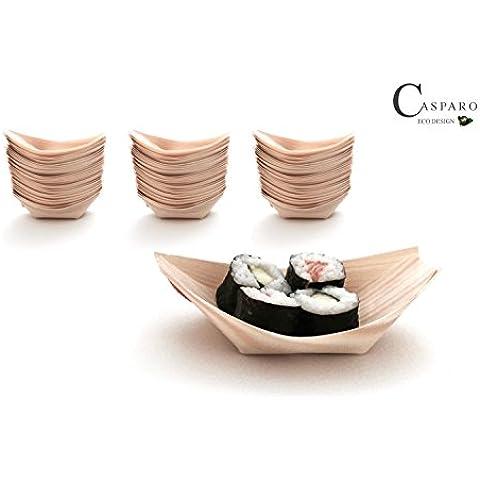 100X Madera frivolité 14x 8cm   Vajilla Desechable ecológico   aperitivos Platos Desechables   casparo Eco Diseño
