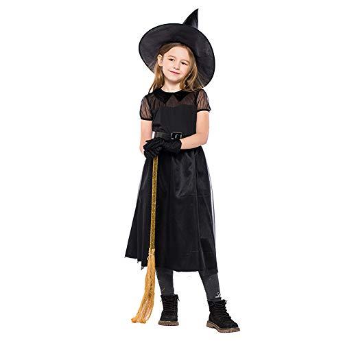 Xinvivion Damen Hexenkostüm, Spitze Tüll Kurzarm Schwarz Böses Spuk Mädchen Kleider Halloween Kostüm Outfit w/Hut, Gürtel und - Gir Cosplay Kostüm