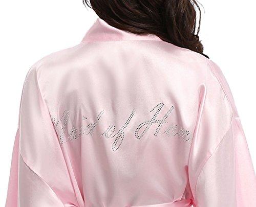 Vintava Damen Satin Hochzeit Bademantel Kurz Kimono Bademantel für Braut Brautjungfer - Pink - Large