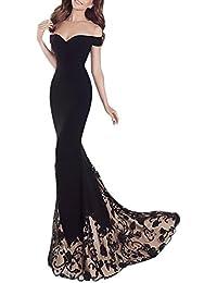 568cd81c579f7 HX fashion Vestito Cerimonia Donna Lungo Elegante Senza Spalline Ricamo  Fiori Nobile Vintage Abiti Chic Ragazza
