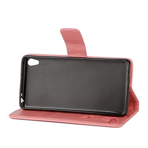 Hülle für Sony Xperia XA1, Tasche für Sony Xperia XA1, Case Cover für Sony Xperia XA1, ISAKEN Blume Schmetterling Muster Folio PU Leder Flip Cover Brieftasche Geldbörse Wallet Case Ledertasche Handyhü Lotus Schmetterlinge Pink