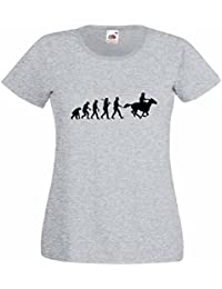 Evolution of a Cowboy Ladies Heather T-Shirt with Black Print