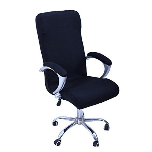 WINOMO Cubiertas de la silla de la computadora de oficina Sillón giratorio Tapa deslizable Extraíble Estiramiento Funda de la silla de escritorio Protector Tamaño L (Negro)