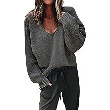 Femme Pull en Tricot LâChe Fleece Blouse Tops Femme Pas Cher Sexy Automne  Hiver, Pullover e198974018b