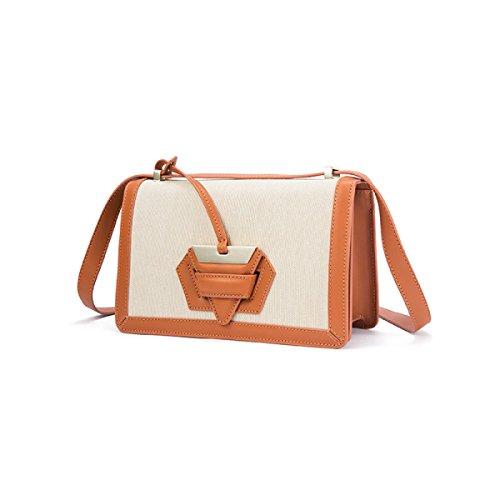 Genuine Leather Antifurto Borsa Singola Spalla Crossbody Bag Fibbia Per Le Donne. Canvas