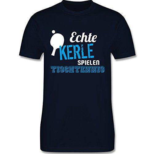 Sonstige Sportarten - Echte Kerle Spielen Tischtennis - L - Navy Blau - L190 - Herren T-Shirt Rundhals