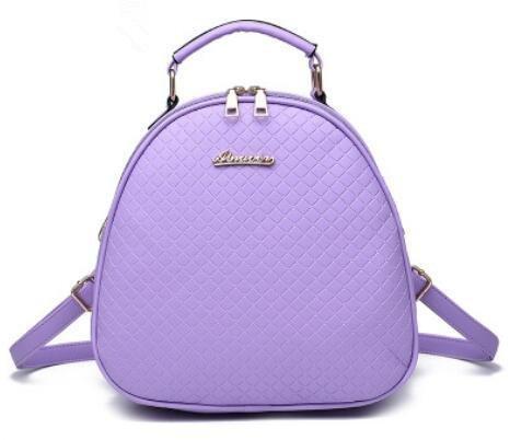 HQYSS Borse donna PU cuoio coreano Casual ovale in rilievo tinta unita studentesse zaino tracolla Messenge Tote Bag , pink purple taro