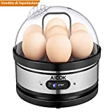 Aicok Cuociuova Elettrico, Bollitore per Uova con Funzione di Mantenimento Calore, Fornello Elettrico per Uova 400 W con Capacità 7 Uova, Piastra di riscaldamento in Acciaio Inox 304