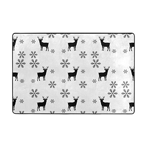 gs Modern Stylish Abstract Texture Snowflake and Deer Door Mats Playmats Non Slip Carpets Soft Memory Foam Printing for Living Room Kids Bedroom Playing Room 15.7x23.6 inch ()