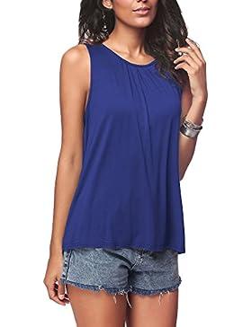 Donna Estate Maglietta Senza Maniche Sciolto Girocollo Cime Gilet Pullover T-Shirt di Grandi Dimensioni Sezione...