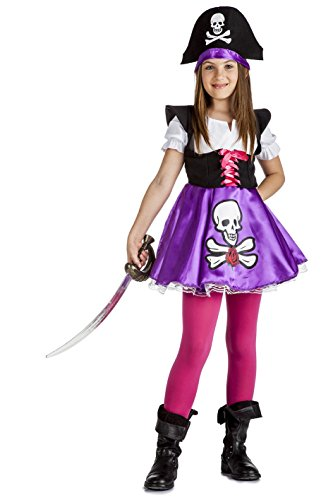 Imagen de disfraz de pirata calavera para niña