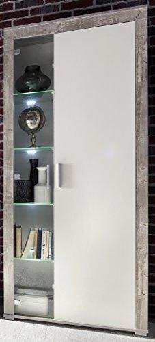6.6.5.6.2956: made in BRD - Serie AWBW - schöne Standvitrine in weiss-grau gescheckt dekor - Glasvitrine - Vitrinenschrank weiss-grau gescheckt dekor