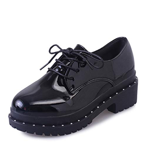 Women Platform High Heel Shoes Lace Up Creepers for Female Fashion Rivet Patent Leather Pumps Casual Ladies Footwear Black 6 Youth Black Patent Schuhe