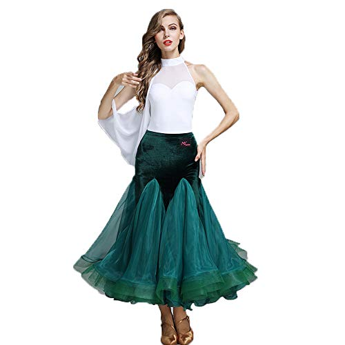 QMKJ Frauen Latein Dance Kostüm Leotard Lyrical Dress Irregular Sleeve grünen Samt High Collar Chiffon top Flowy High-Low Rock L XL ()