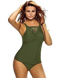 Bikini De Moda Sexy Escote Doblez Chaleco Cintura Slim Split Traje De Baño Traje De Baño Verde Militar,L