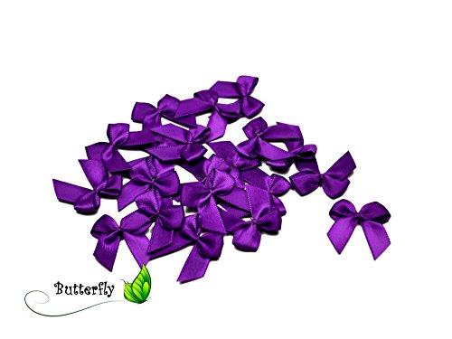 20 Stück Satinschleifen 2,5x3cm (lila/purpur 465)//Deko Schleifen für Hochzeit Taufe Kommunion Applikation Streudeko einfarbig