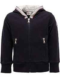 MONCLER 7317Y Felpa Bimbo Boy Full Zip Blue Cotton Sweatshirt bba0b52e756