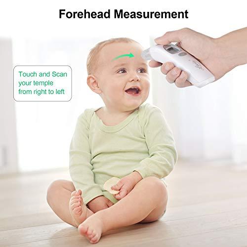 Termometro Bambini, Digitale Infrarossi Fronte Orecchio Termometro per Neonato e Adulti con Schermo a LCD, Lettura Istantanea,Allarme Febbre, Approved CE/FDA - 5