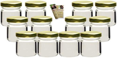 gouveo Set di 36 vasetti 'Mini' 40 ml con chiusura girevole TO 43 dorato, vasetti di stoccaggio, vassoi di marmellata, conservazione vasetti, vasi di spezia, vasi invertenti