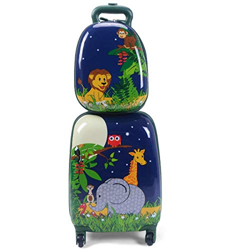 YEXIN 12'16' 2PC Bambini Bagagli Set Valigia Zaino Scuola Viaggio Cabina Trolley ABS (Colore : Style B)