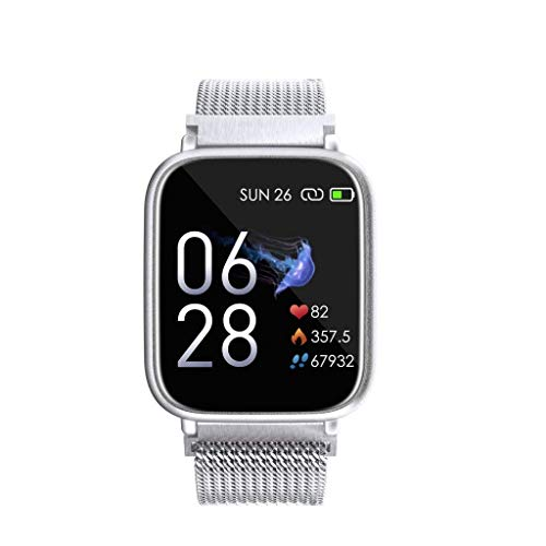 OPTA SB-140 Steel Hebe Bluetooth All-in-One Fitness Smart Watch with a Large Color Screen Display for Seniors, Medium (Silver Steel)
