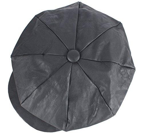 RaOn N34 Wasch Design Kunstleder Cabbie Barett Flache Fahr Hut für Herren ~ 7 1/8 7 1/4 (57cm ~ 58 cm) Dunkelgrau (Fahr-hüte Für Männer)