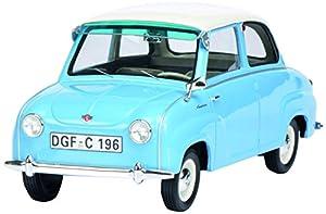 Schuco 450009600 - Coche Modelo Goggomobil Limousine, Color Azul Claro y Blanco, Escala 1:18