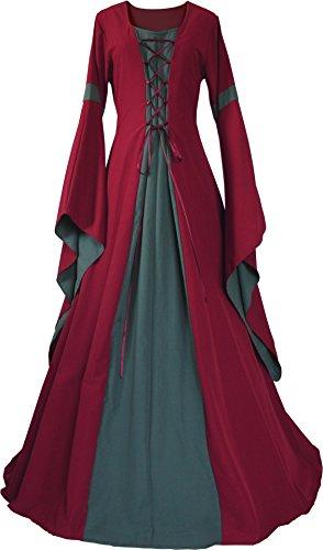 Dornbluth Damen Mittelalter Kleid Johanna Bordeaux (36/38 kurz, Bordeaux-Dunkelgrün)