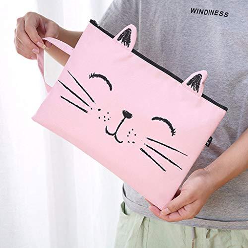 Süße Katze Schnurrbart Reißverschluss Leinwand A4 Aktentasche, Student Schreibwaren Aufbewahrungstasche, Multifunktions-Geldbörse, waschbar langlebig Oxford Tuch, 32,5 x 24 cm (B)