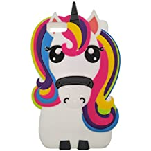 Huawei P8 Lite (2015) Funda, DUGRO Nuevo 3D de Dibujos Animados de Suave Silicona [Diseño más Grueso] Ultra Anti-Choque Teléfono Caso - Rainbow Unicornio
