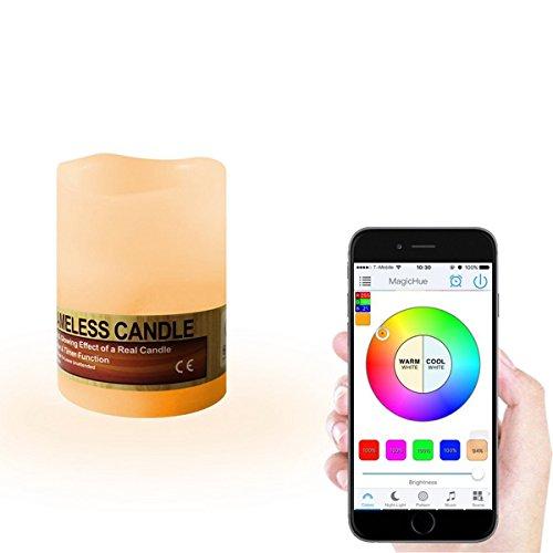 Dadeqish mini smart wireless bluetooth che cambia la decorazione di nozze della lampada della candela senza fiamma di rgbw led flameless luce interna