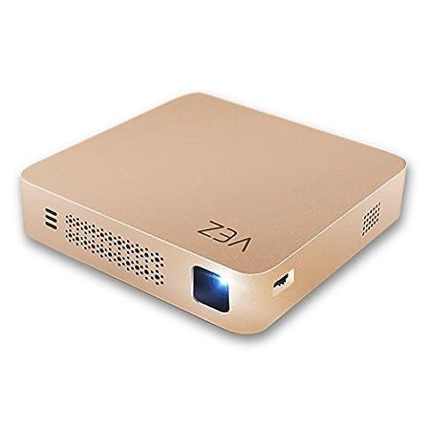 VEZ Home Miniature Projecteur intelligent WIFI et connexion Bluetooth Smartphone et ordinateur HD 1080p Mini projecteur USB Wireless Office Portable Projector Gold