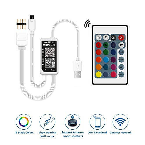 (TV Hintergrundbeleuchtung LED WiFi Controller [DC 5V USB] Kompatibel mit Alexa Google Home mit 24Key Fernbedienung, Farbwechsel mit Musik Rhythm, Timer, Dimmer Funktion (RGB 4Kanal))