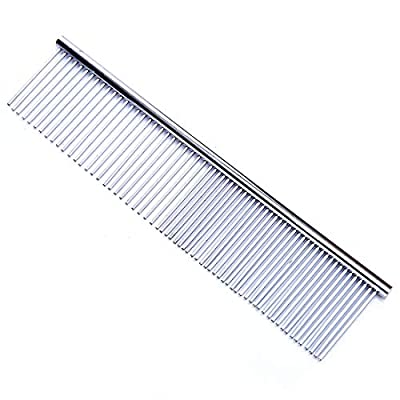 Pet Grooming Comb Pet Dog Cat Stainless Steel Grooming Comb Hair Cleaning Massaging Metal Pet Comb Tool for Large, Medium & Small Dogs & Cats with Tangled Short/Long Hair(Two Size) by HAUOTCCO