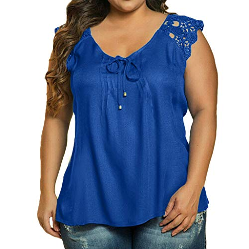 CAOQAO Damen Sexy Einfarbig Mode Damen Plus GrößE Solide Geraffte äRmellose V-Ausschnitt Spitze Verband T Bluse Lose Spitze Blumendruck (XXL,Blau)