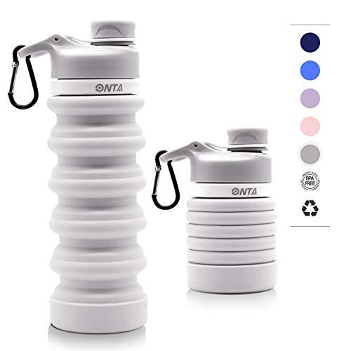ONTA Faltbare Wasserflasche - BPA-freie für unterwegs, FDA-Zugelassene, Lebensmitteltaugliche, Tragbare, Lecksichere Reise-Wasserflasche aus Silikon, 20 oz (Grau)